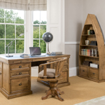 Pickwick desk, swivel chair and dinghy bookcase