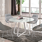 Kendal White Glass Topped Dining Table