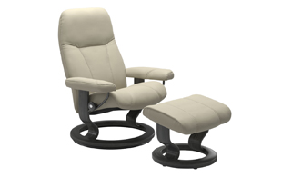Stressless Consul with Classic Base Chair & Stool detail page