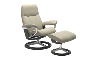 Stressless Consul with Signature Base Chair & Stool detail page