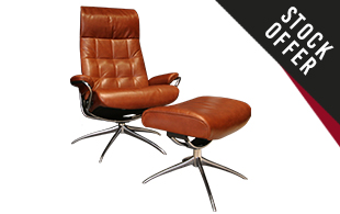 Stressless London *Stock Offer* High Back Chair & Stool In Pioneer Leather detail page
