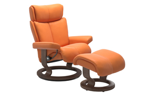 Stressless Magic Medium Chair & Stool - Classic Base detail page
