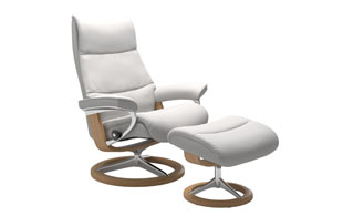 Stressless View with Signature Base Chair & Stool detail page