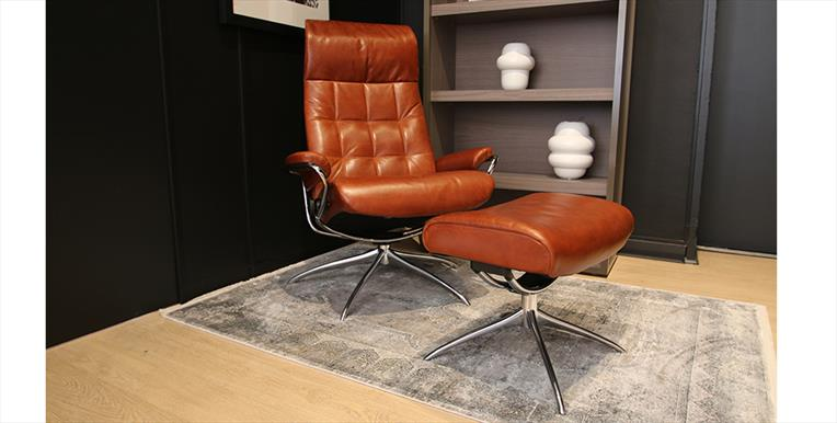 Stressless London Stock Offer High Back Chair Stool In Pioneer Leather Hopewells